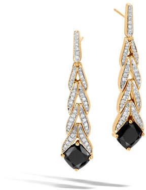 John Hardy Modern Chain Magic Cut 18k Drop Earrings with Onyx & Diamonds