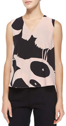 McQ Sleeveless V-Neck Printed Volume Top