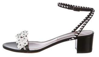 Tabitha Simmons Floral Mid-Heel Sandals Black Floral Mid-Heel Sandals
