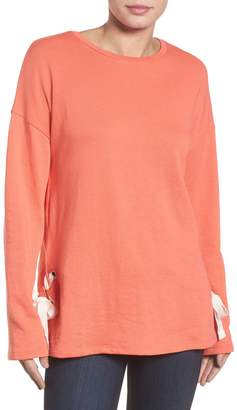 Caslon Lace-Up Side Sweatshirt (Regular & Petite)