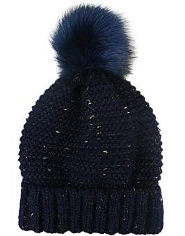 Morgan & Taylor Knit Beanie With Fleck Of Gold And Fur Pompom