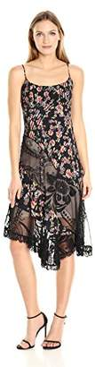 ABS by Allen Schwartz Women's Pleated Floral Print Cami Dress Asymmetrical Lace Details