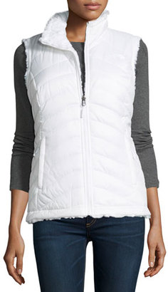 The North Face Mossbud Swirl Fleece & Taffeta Reversible Vest, White $99 thestylecure.com