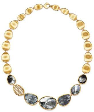 """Marco Bicego 18K Yellow Gold Lunaria Black Mother-of-Pearl & Diamond Collar Necklace, 16.5"""""""