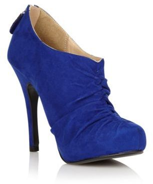 Bright blue ruched shoe boots