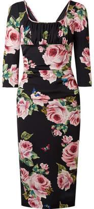 Dolce & Gabbana Ruched Floral-print Stretch-silk Charmeuse Midi Dress - Black