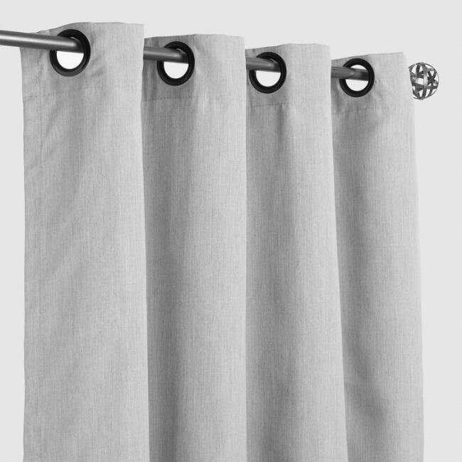 Sunbrella Granite Canvas Grommet Top Outdoor Curtain