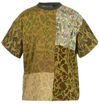 Longjourney Oversized paneled camouflage-print cotton T-shirt