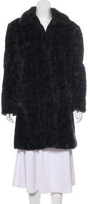 Versus Faux Fur Knee-Length Coat