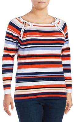 Lord & Taylor Plus Keyhole Raglan-Sleeve Stripe Top