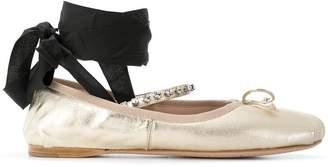Miu Miu ankle-tie ballerinas