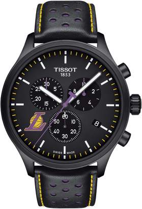 Tissot Chrono XL NBA Leather Strap Watch, 45mm