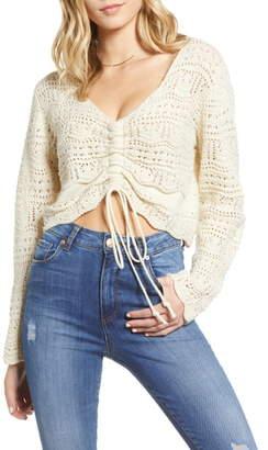 Moon River Pointelle Crop Sweater