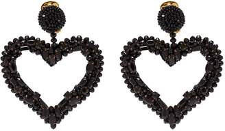 Oscar de la Renta Glass crystal beaded heart drop clip earrings