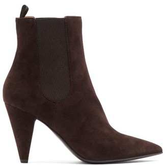 Gianvito Rossi Cone Heel Suede Ankle Boots - Womens - Dark Brown