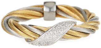 Alor Wrapped Diamond Cable Ring, Two-Tone