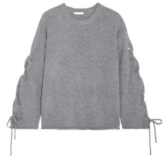 See by Chloé - Oversized Lace-up Knitted Sweater - Gray $435 thestylecure.com
