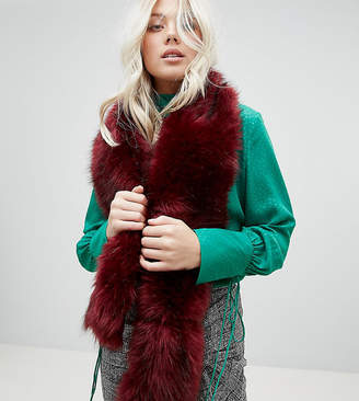 Stitch & Pieces Faux Fur Scarf in Berry