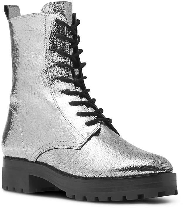 Michael Kors Collection Women's Gita Crackled Metallic Leather Combat Booties