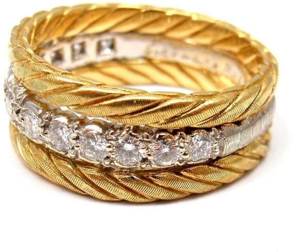 BuccellatiBuccellati 18K Yellow White Gold 0.35ct Diamond Band Ring Size 5