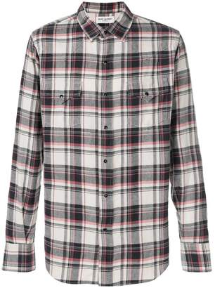 Saint Laurent plaid fitted shirt