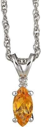 "Sterling Marquise Gemstone & Diamond Pendant with 18"" Chain"