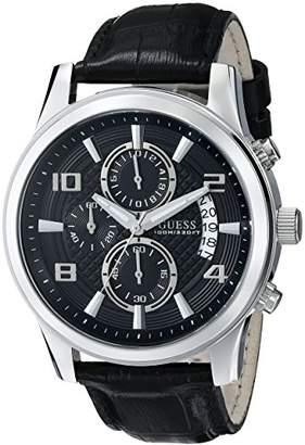 GUESS Men's U0076G1 Black Classic Crocodile-Grained Leather Strap Chronograph Watch