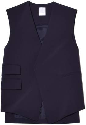 Most Wanted Design by Carlos Souza Deveaux Trapeze Vest in Navy Bonded Wool