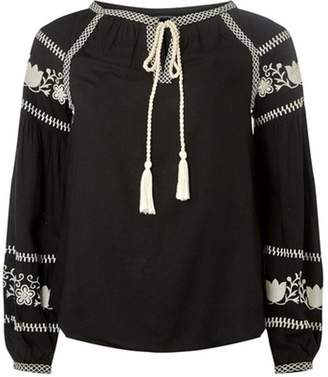 Dorothy Perkins Womens Black Embroidered Boho Top