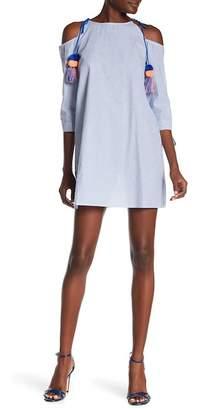 AMERICA & BEYOND Pompom Tassel Cold Shoulder Dress