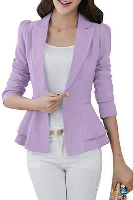YMING Women's Ruffle Casual Jacket Office Suit Button Up Blazer Coat ,S