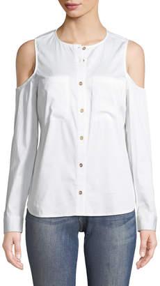 MICHAEL Michael Kors Cold-Shoulder Button-Down Blouse