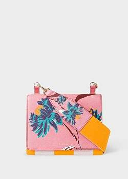 Paul Smith Women's Pink 'Pacific Rose' Print Calf Leather Cross-Body Bag