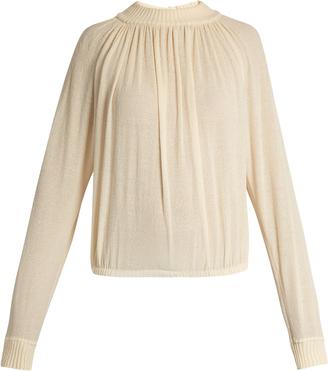 Cotton-blend crepe sweater