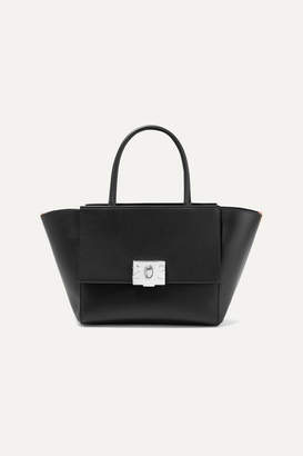 Calvin Klein Bonnie Medium Canvas-trimmed Leather Tote - Black