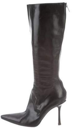 Jimmy Choo Pointed-Toe Knee-High Boots Black Pointed-Toe Knee-High Boots