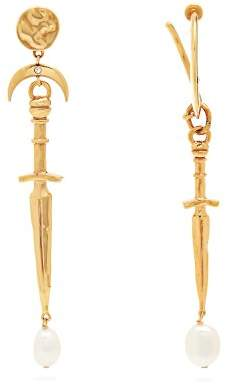 Givenchy Dagger And Pearl Drop Earrings - Womens - Gold