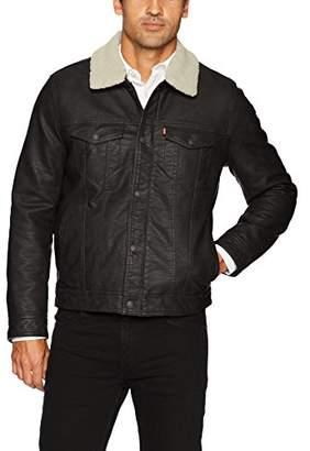 Levi's Men's Buffed Cow Faux Leather Sherpa Trucker