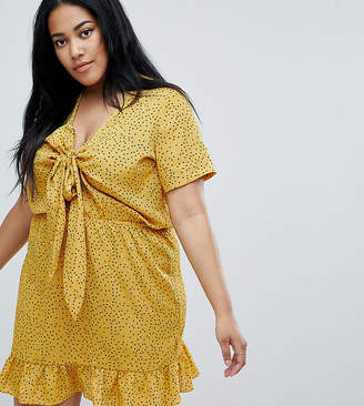 Asos Glamorous Curve Mini Tea Dress With Tie Front In Ditsy Spot