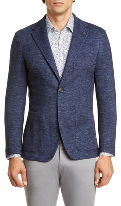 Canali Classic Fit Plaid Cotton & Wool Knit Sport Coat