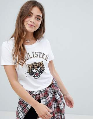 Hollister crop t-shirt with sequin tiger