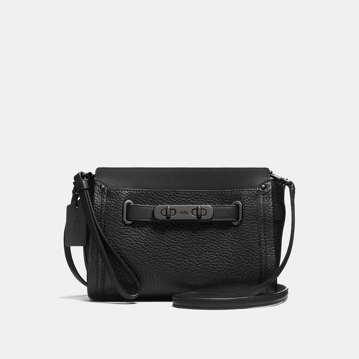 COACH Coach Swagger Wristlet In Pebble Leather