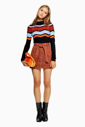 Topshop PETITE Rust Denim Utility Skirt