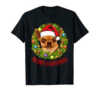 Funny Chihuahua Dogs In Christmas Wreath Xmas Clothes Women T-Shirt