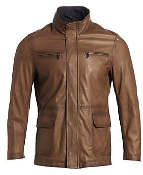 67d1de0fd Stand Collar Leather Jacket
