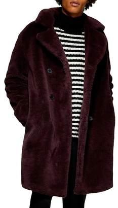 Topman Double Breasted Faux Fur Jacket