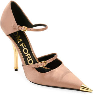 Tom Ford Two-Strap Satin Mary Jane Pumps with Pointed Metal Toe