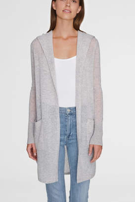 White + Warren Curved Hooded Cardigan