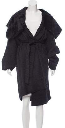 Donna Karan Textured Fur-Trimmed Coat