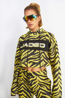 Topshop Womens **Yellow Zebra Printed Hoodie By Jaded London - Yellow